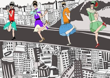 Veronica Rowlands / Flappers Up the Empire State / Limited edition signed print